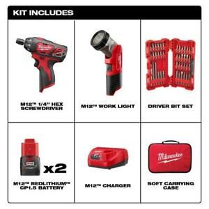 M12 12-Volt Lithium-Ion Cordless 14 In. Hex ScrewdriverLED Worklight Kit 1.5Ah