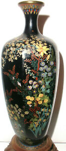 Nice antique Japanese cloisonne Meiji period vase on wood stand