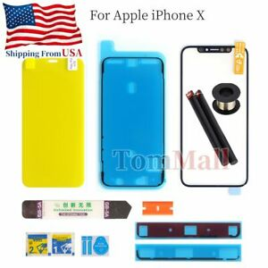 For iPhone X Front Outer Glass Lens Screen Bezel Replacement Kit Tools Adhesive