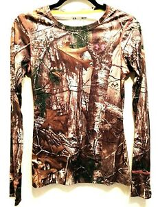 Under Armour Youth Realtree Camo Scent Control Long Sleeve Shirt Size Small EUC