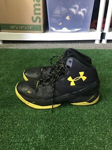 Steph Curry 2 Basketball Shoes Mens 9.5 Black Yellow Under Armour