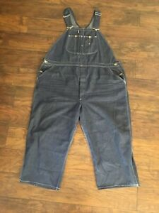 "Vintage LEE Denim Overalls 2XL Made USA Mens 50"" Waist 23.5"" Inseam Button Fly"