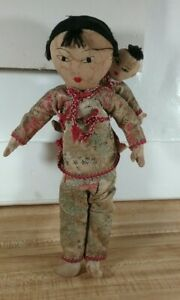 Vintage Ada Lum Cloth Chinese Dolls Mom and Son 11.5quot; $25.00