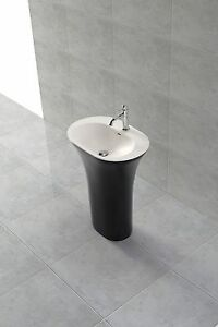 Luxury Pedestal Basin; Black-White; Glossy; Stone Resin; Free-Standing or Wall