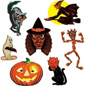 Vintage Halloween Classic Cutouts 7 Per Pack Halloween Party Decorations