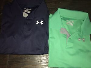 Boys Youth Under Armour Polo Collared Golf Shirts Size XL NavyGreen