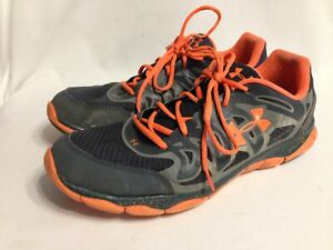 Under Armour 1245158-029 Micro G Black Gray & Neon Orange Mens Shoes Size 15