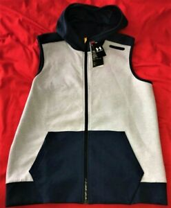 NWT UNDER ARMOUR HEATGEAR MENS XL FITTED FULL ZIP SLEEVELESS HOODED VEST - $79