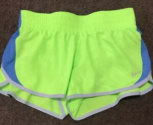 WOMENS NIKE DRI-FIT 5K RUNNING SHORTS SIZE Small S BLUENEON TRIM BRIEF LINER