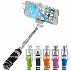 Extendable Wired Remote Shutter Handheld Selfie Stick Monopod For Cellphone Gift