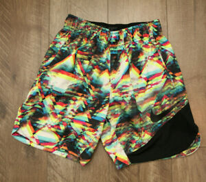 NIKE Boys' Dry-Fit Dry Vent Printed Training Shorts Printed Volt Colorful SMALL