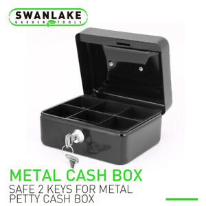 5quot; amp;6quot; Locking Cash Box Money Small Steel Lock Security Safe Storage Check Black