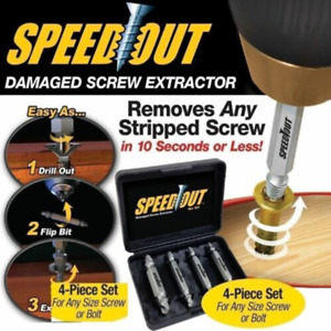 Speed Out Screw Extractor Broken Damaged Bolt Remover Drill Bits 4 PCS Tool Set