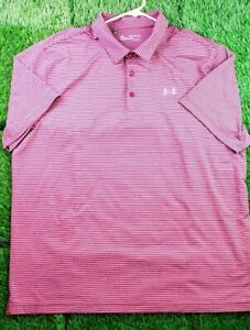 Under Armour Men's 2XL Red Maroon Loose Fit Athletic Stripe Golf Polo Heatgear
