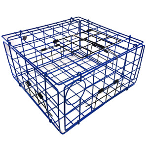 Blue Metal Catching Folding Crab Lobster Trap Pot Box Basket with Top Door