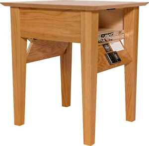 Hidden Compartment End Table- Diversion Safe- RFID Lock- Autumn Stain on Oak T1