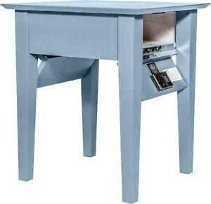 Hidden Compartment End Table- Diversion Safe- RFID Lock- Gray Paint on Oak T1