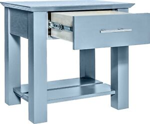 Hidden Compartment Nightstand- Diversion Safe- RFID Lock- Gray Paint on Oak T2