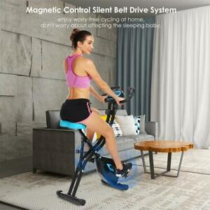 Folding 10 Levels Magnetic Resistance Upright Exercise Bike With LCD Monitor