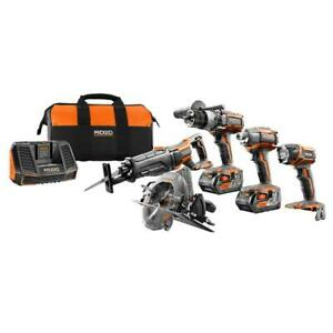 Tool Combo Kit 5 Batteries Charger Contractor Bag RIDGID Cordless R9652 18 Volt