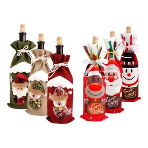 Santa Claus Red Wine Bottle Cover Bags Snowman Table Party Christmas Decor