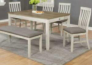 Beautiful Durable Rectangular Dining Table Set Chairs Bench 6pc Wooden Furniture