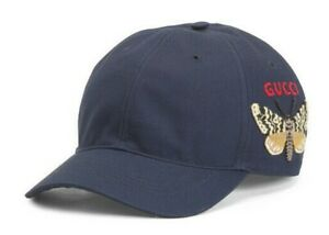 NEW GUCCI EMBROIDERED BUTTERFLY MOTH LOGO BASEBALL CAP HAT L