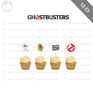 12 Ghostbusters Slimer Cupcake Cake Topper Food Pick Favor Party Birthday Kid