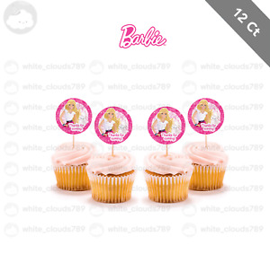 12 Barbie Girl Doll Princess Cupcake Cake Topper Food Pick Favor Party Birthday