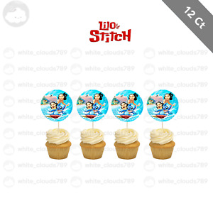 12 Lilo and Stitch Cupcake Cake Topper Food Pick Favor Party Birthday Kid