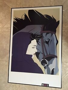 "RARE PATRICK NAGEL NEW MONTANA lithograph 24x36"" OUT Of PRINT 1993 HORSE 🐴"