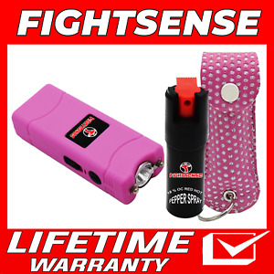 Mini Stun Gun and Pepper Spray Combo for Self Defense Extremely Powerful Pink B