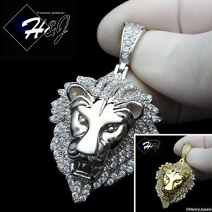 MEN 925 STERLING SILVER ICY DIAMOND SILVER GOLD 3D LION KING HEAD PENDANT*SP264 $59.99