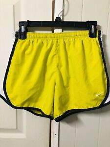 Nike Girl's Dri-Fit lined Tempo Running Shorts Size X-Large Neon Yellow