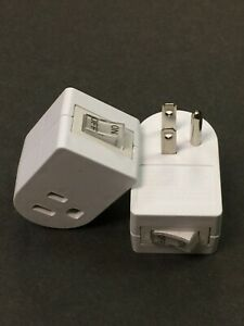 Single 3 Pronged Plug Power Adapter With On/Off Switch Grounded Wall Tap