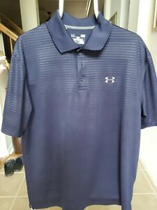 Under Armour Heat Gear Mens Loose Fit Blue Large Short Sleeve Polo Shirt (00)