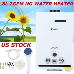8L Natural Gas NG Tankless Water Heater 2.0GPM Instant Hot Boiler + Shower Kit