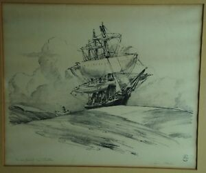 Alson Skinner Clark Sailing Ship at Sea with Rowboat Lithograph