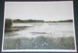 Signed Limited Edition Lithograph of a Marsh Landscape Signed Violard