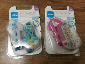 2x MAM Soother Clips 4 Dummy Clip Holders double sets solid hold bpa free New GBP 12.99