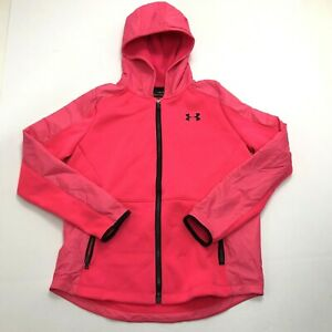 Under Armour Coldgear Hoodie Jacket Full Zip: Pink Youth Girls Size XL Loose 776