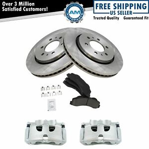 Front Posi Ceramic Brake Pads Rotors & New Calipers Kit for Ford F150