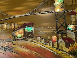 VINTAGE 50#x27;s 60 Lighted Huge WALL CHINATOWN SAN FRANCISCO golden gate cable car $579.00
