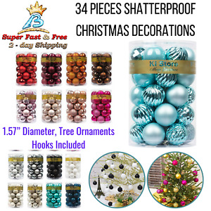 """Christmas Ball Shatterproof Decorations Tree Ornaments 1.57"""" 34ct Holiday Decors"""