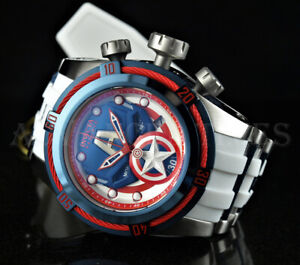 Invicta 52mm MARVEL Bolt Zeus CAPTAIN AMERICA Ltd. Ed. SWISS Chrono White Watch