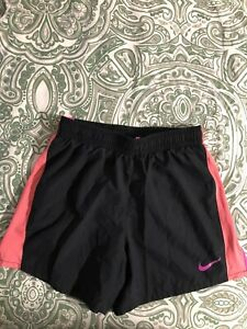 Nike Girl's Dri Fit lined 10K Running 890519 Shorts Size X Large Black Coral $12.00