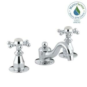 Bathroom Sink Faucet 8In Widespread 2 Handle Low Arc Polished Chrome Six Prong