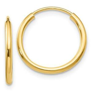 Solid 14k Yellow Gold Round Endless Hoop Earrings Unisex Continuous Hoops