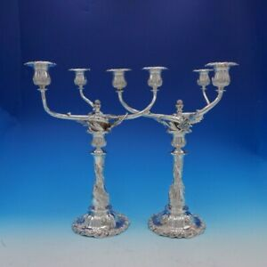 Chrysanthemum by Tiffany and Co Sterling Silver Candelabra Pair 3-Light (#3404)