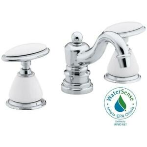 KOHLER Bathroom Sink Faucet 8 In Widespread 2 Handle Low Arc Polished Chrome New